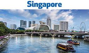 Singapore - skyline with bridge over waterway